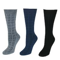 Wise Blend Women's Cable Knit Crew Socks (3 Pair Pack)