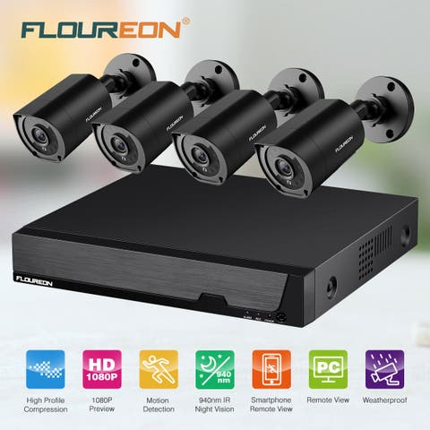FLOUREON 8CH DVR Security Camera System 5 IN 1 1080N Video DVR Recorder 4X HD 1080P CCTV Cameras Invisible IR Night Vision