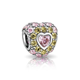 Bling Jewelry 925 Sterling Silver Pink CZ Heart Bead Charm