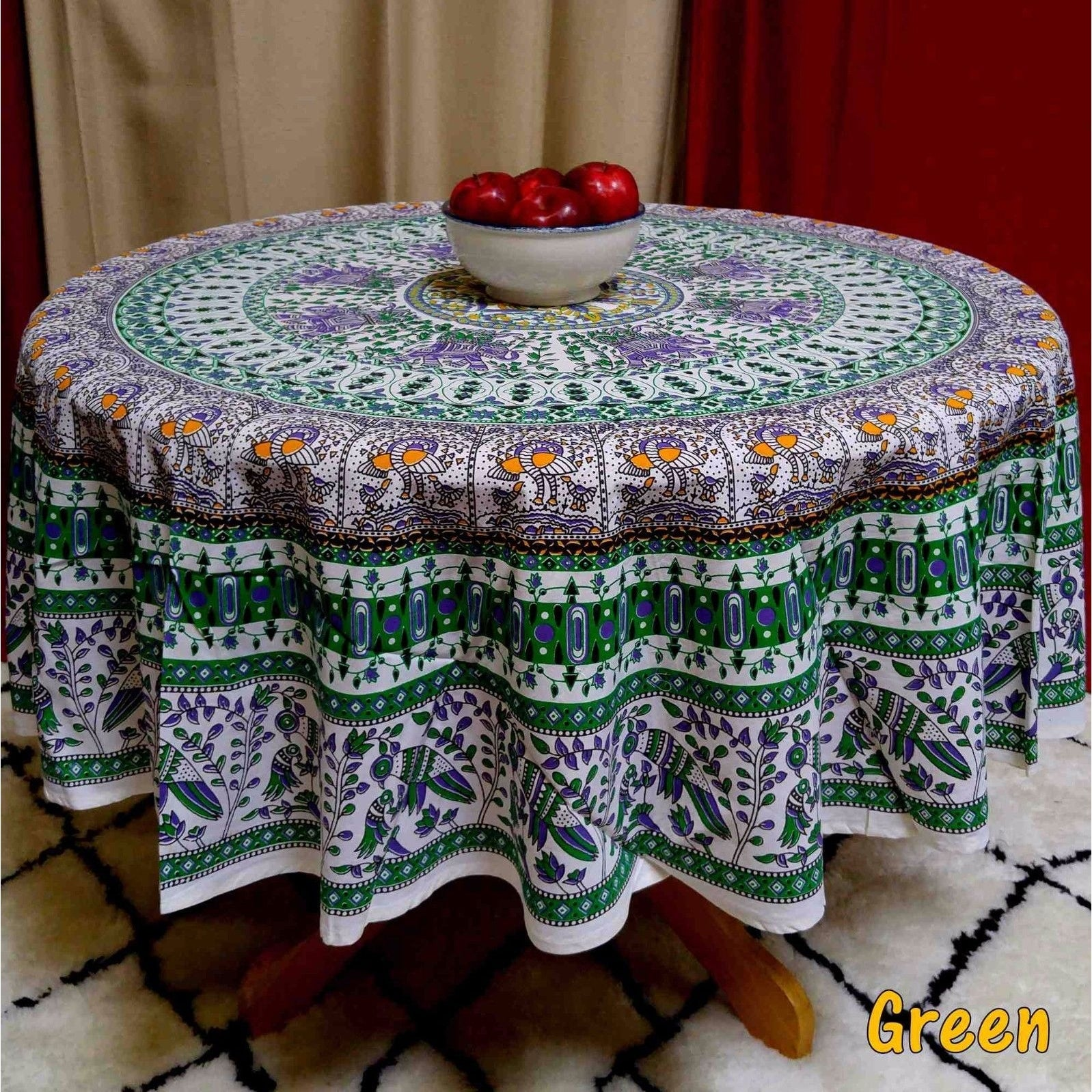 Thumbnail 8, Elephant and Peacock Print 100% Cotton Tablecloth Round 69 inches Blue Green Red Teal. Changes active main hero.