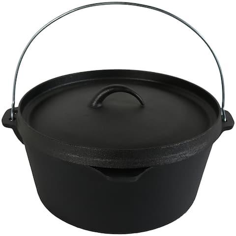 Sunnydaze Cast Iron Deep Dutch Oven Pre Seasoned - Large 12-Inch 8-Quart Pot
