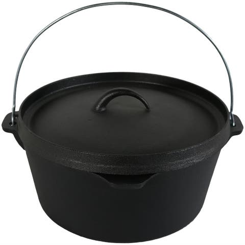 Sunnydaze Cast Iron Deep Dutch Oven Pre Seasoned 12 Inch 8 Quart
