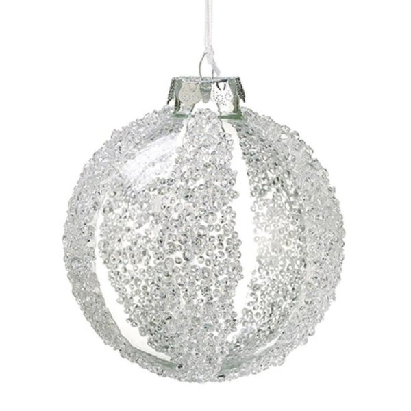 """4"""" Winter Light Clear and Bead Embellished Striped Glass Christmas Ball Ornament"""