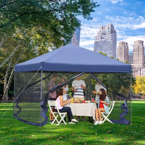 Outsunny 10' x 10' Outdoor Pop-Up Party Tent with Mesh Sidewalls