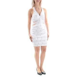Womens White Floral Sleeveless Mini Sheath Cocktail Dress Size: 5