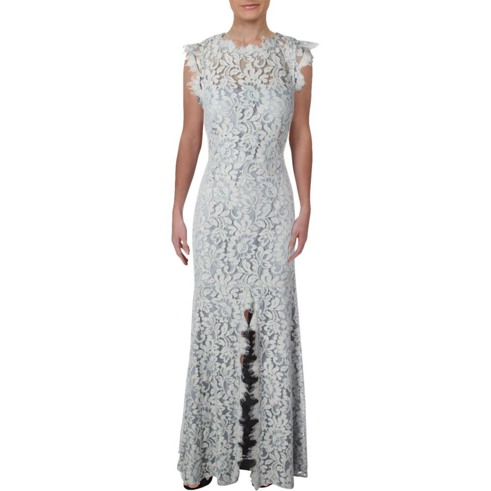 Eliza J Womens Evening Dress Floral Lace Slit - Blue