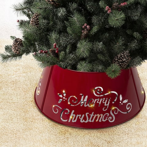 """Glitzhome """"Merry Christmas"""" Diecut Metal Tree Collar with Light String - """"Merry Christmas"""" - 26""""D"""