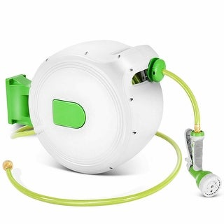 Costway 100' Retractable Water Garden Hose Reel Auto Wall Mounted W/Spray Gun - as pic