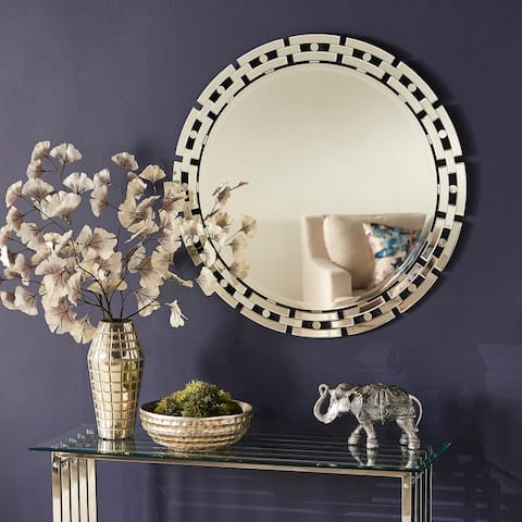 Amaya Geometric Frame Round Wall Mirror by iNSPIRE Q Bold