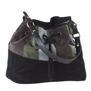 Women's Colorblock Suede Drawstring Purse - Bucket Handbag - Black Leather - One size