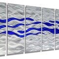 Statements2000 Blue / Silver Modern Abstract Metal Wall Art Painting by Jon Allen - Caliente Blue - Thumbnail 8