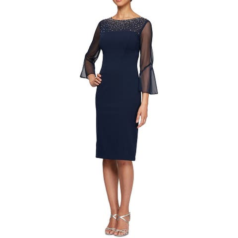 Alex Evenings Women's Dress Sheath Bling Illusion Sleeve