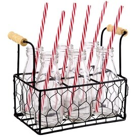 Palais Glassware High Quality Milk Bottles with Red & White Swirl Straws