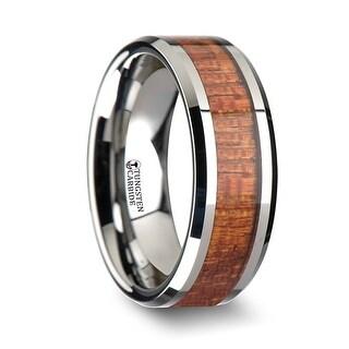 KHAYA Tungsten Band with Polished Bevels and Exotic Mahogany Hard Wood Inlay