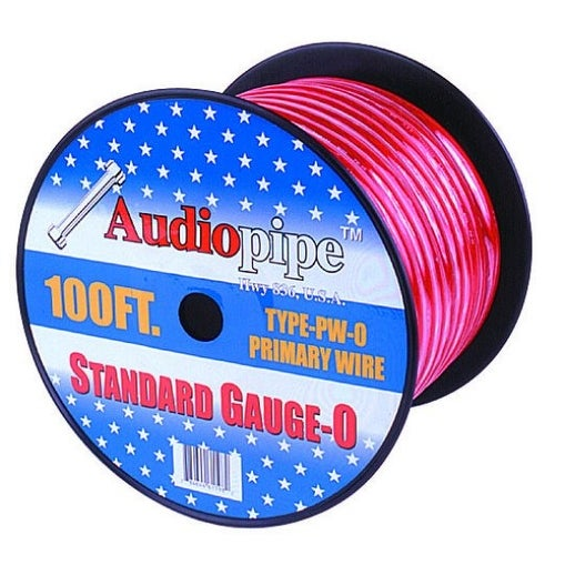 Audiopipe 25' 0 Gauge Red Power Wire