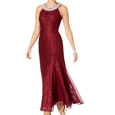 R&M Richards Women's Dress Red Size 14 Lace Shimmer Bling Neck Gown