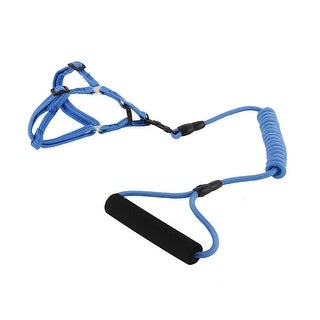 Dog Nylon Travel Picnic Adjustable Leash Rope Cord Chest Harness (Dark Blue, XS)