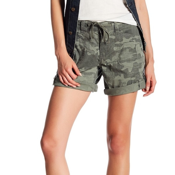 Supplies NEW Olive Green Womens Size 6 Camo Roll Hem Drawstring Shorts