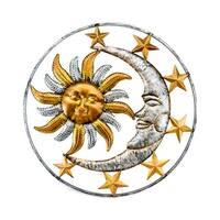 Celestial Sun Moon and Stars Indoor/Outdoor Metal Wall Sculpture