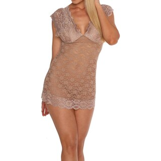 Just Sexy Lingerie Womens Babydoll Lace Plunge Neckline