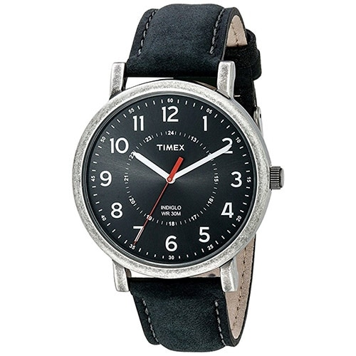 Timex Unisex T2P219 Originals Silver-Tone Watch with Black Leather Band