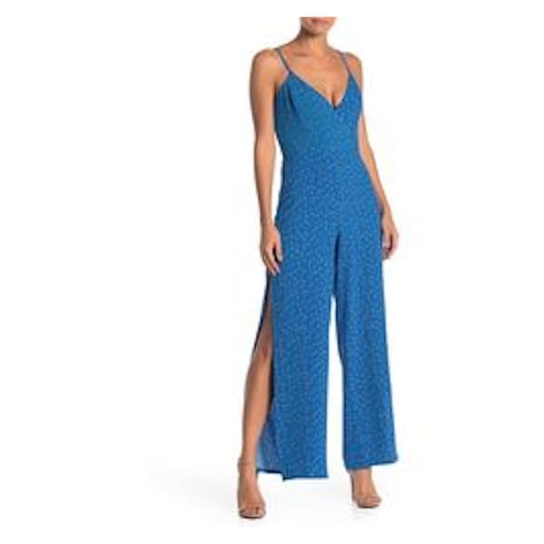 MATERIAL GIRL Blue Spaghetti Strap Tank Jumpsuit Size XL. Opens flyout.
