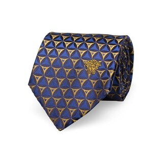 Versace Men's Medusa Logo Triangle Pattern Slim Silk Neck Tie Navy/Gold - no size