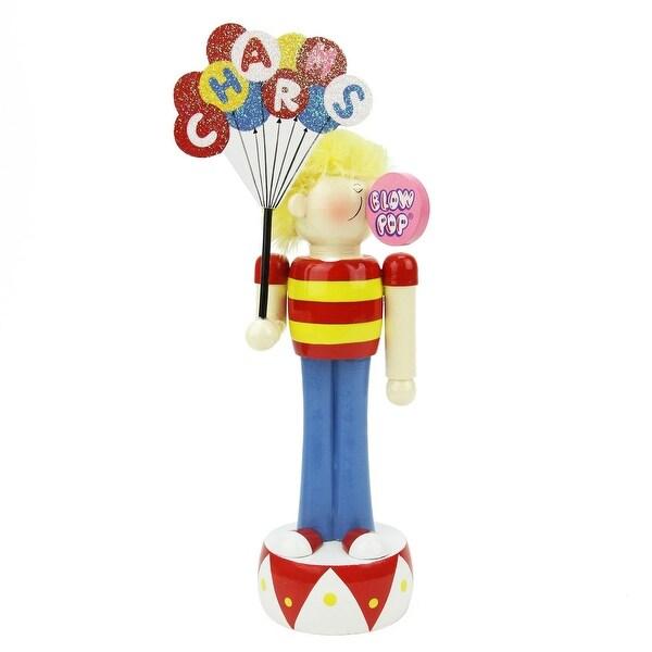 "10.75"" Decorative Charms Blow Pop Wooden Boy Christmas Figure - multi"