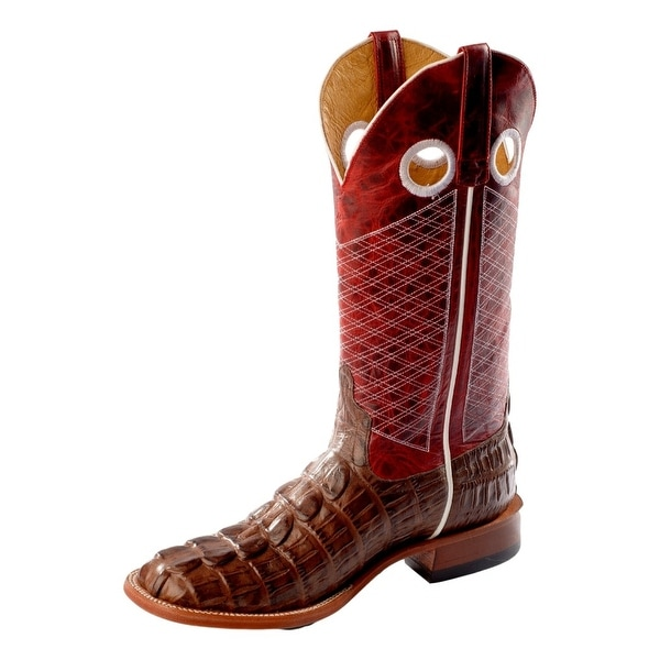 Horse Power Western Boots Men Croc Print Roper Square Chocolate