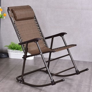 Costway Folding Rocking Chair Porch Patio Indoor Foldable Rocker Seat With Headrest