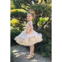 Girls Cream Floral Lace Applique Cascade Ruffle Hudson Flower Girl Dress