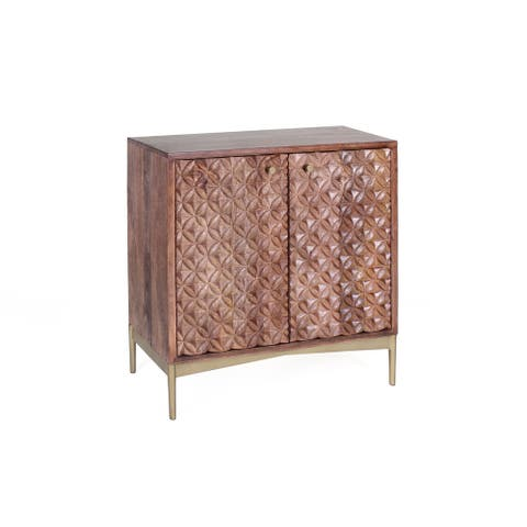 Signet 32-inch Mango Wood & Iron Hand Carved Sideboard with Diamond Motif