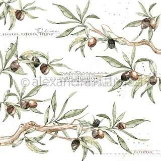 """Olive Branches - Alexandra Renke Cooking Paper 12""""X12"""" - 25/Pack"""
