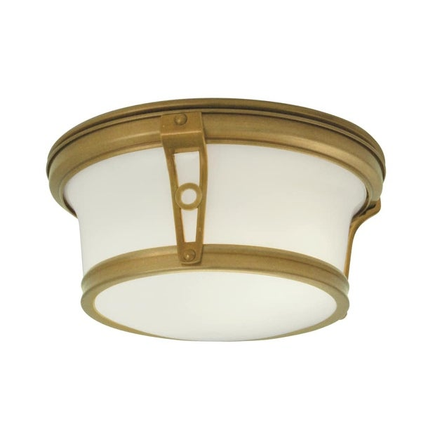 "Norwell Lighting 5382 Leah 2 Light 10"" Wide Flush Mount Ceiling Fixture with White Glass Shade"