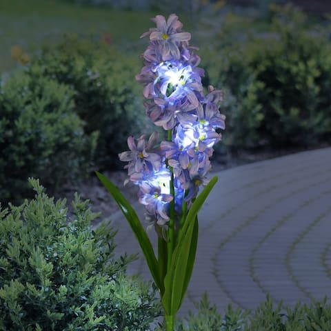Exhart Solar Fabric Lilac Garden Stake with LEDs, 5 by 33.5 Inches