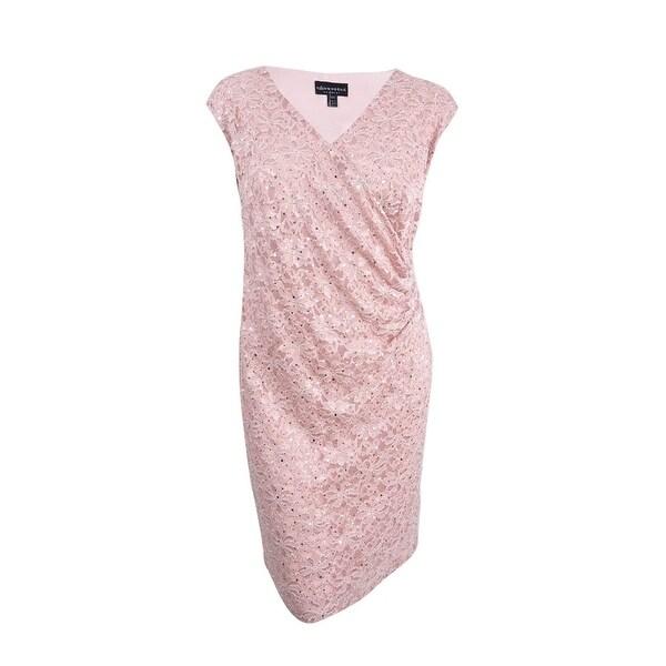 Connected Women's Plus Surplice Sequined Lace Dress
