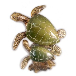 "Sea Creations Two Ocean Turtles Figurine 8"" Green"