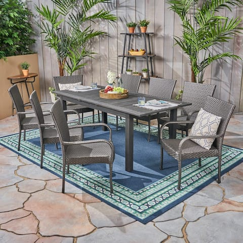 Hayes Outdoor 9 Piece Wood and Wicker Expandable Dining Set by Christopher Knight Home