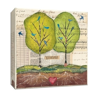 "PTM Images 9-152063  PTM Canvas Collection 12"" x 12"" - ""Bird Notes"" Giclee Trees Art Print on Canvas"