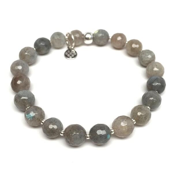 """Grey Labradorite Eve 7"""" Sterling Silver Stretch Bracelet"""