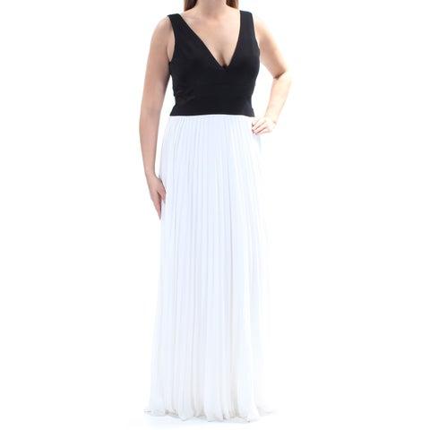 XSCAPE Womens Ivory Pleated Sleeveless V Neck Full Length Fit + Flare Formal Dress Size: 14