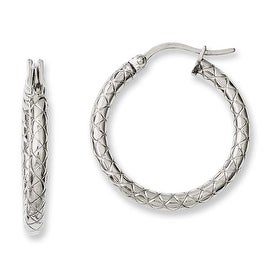 Chisel Stainless Steel Small Textured Hollow Hoop Earrings