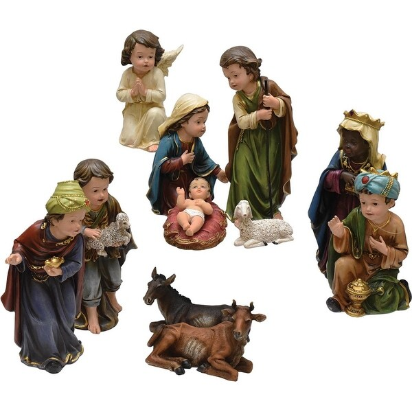 11-Piece Inspirational Religious Children's First Christmas Table Top Nativity Set - brown