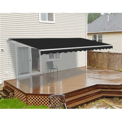 ALEKO Retractable 20 x 10 Feet Motorized Home Patio Canopy Awning Black