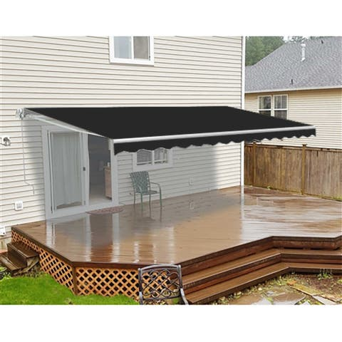 ALEKO Retractable 20 x 10 Feet Motorized Home Patio Canopy Awning Black