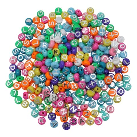 ABC Beads, Colored, 300 per pack, 3 packs total