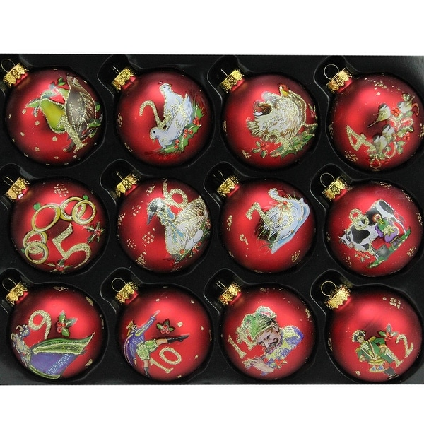 """12ct Matte Red Twelve Days of Christmas Glass Ball Christmas Ornaments 2.5"""" (65mm)"""