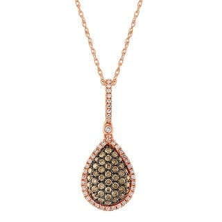 0.38Ct Natural Brown & White Diamond Pear Shaped Designer Pendant - White H-I