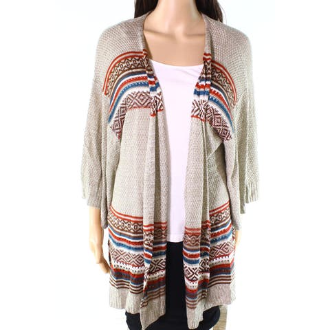 One World Brown Multi Womens Size Large L Open Front Belted Cardigan