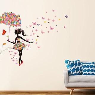 "Umbrella Butterfly Flower Girl Removable Vinyl DIY Wall Art Sticker 35.4""x23.6"""